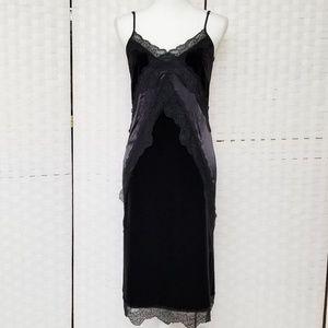 H&M Gold Label Black Velvet Slip Dress